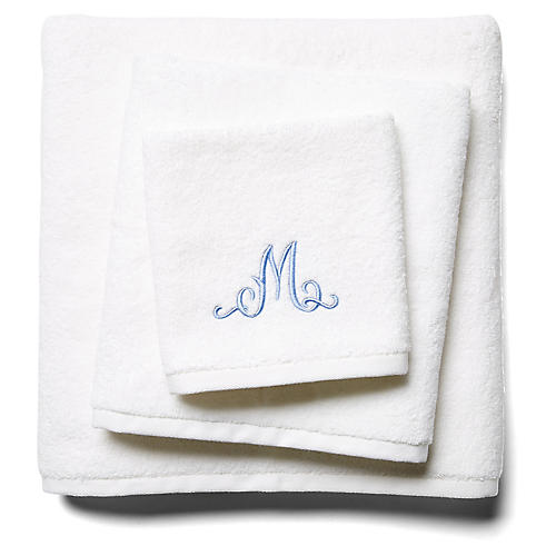 3-Pc Script Monogram Bath Set, White