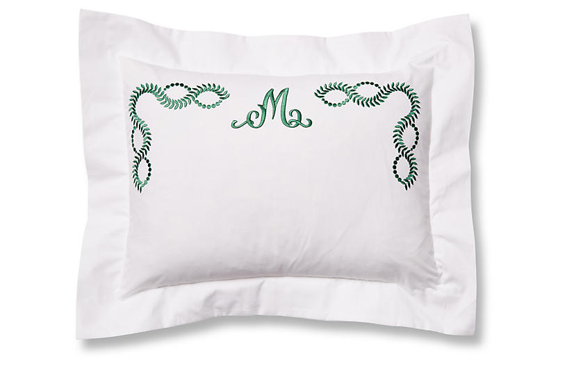Wheat Monogram Boudoir Sham, White/Green
