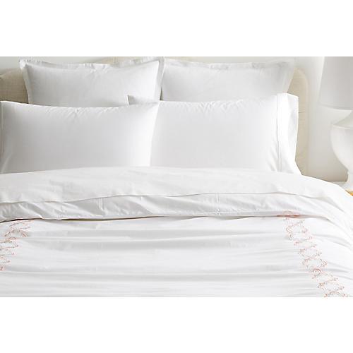 Quatrefoil Duvet, White/Pink