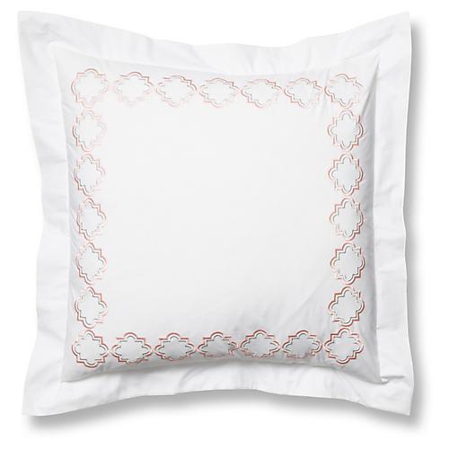 Quatrefoil Euro Sham, White/Pink