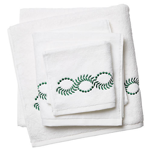 Wheat Towel Set, White/Green