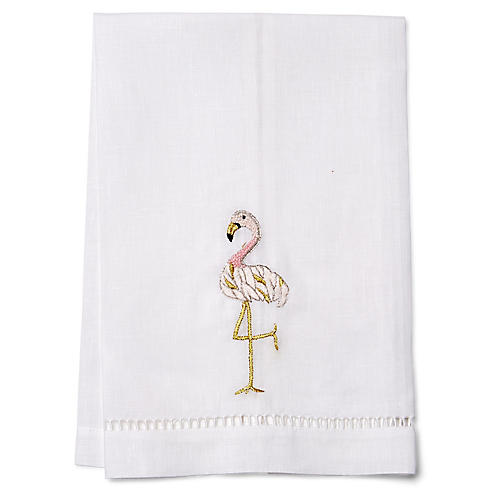 Flamingo Guest Towel, Gold/White