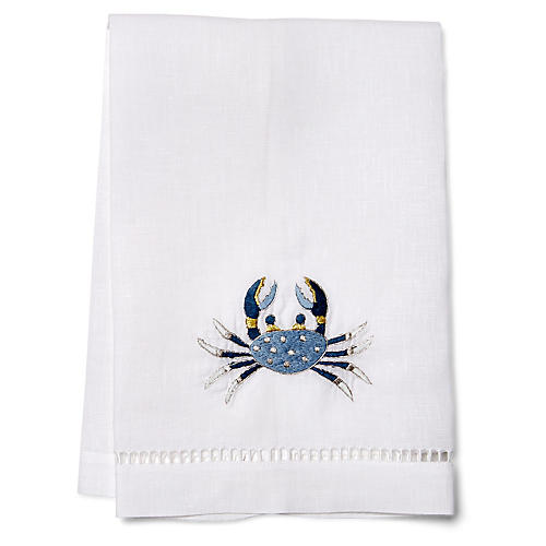 Crab Guest Towel, Blue/White