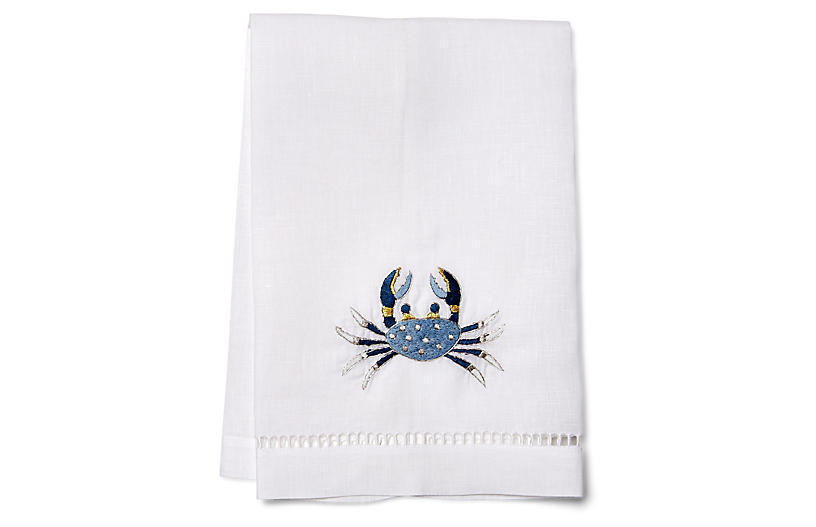Crab Guest Towel, Blue/White