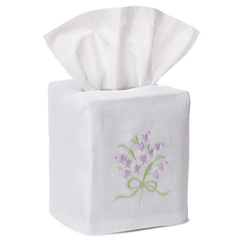 Wisteria Tissue Box Cover, Green/White