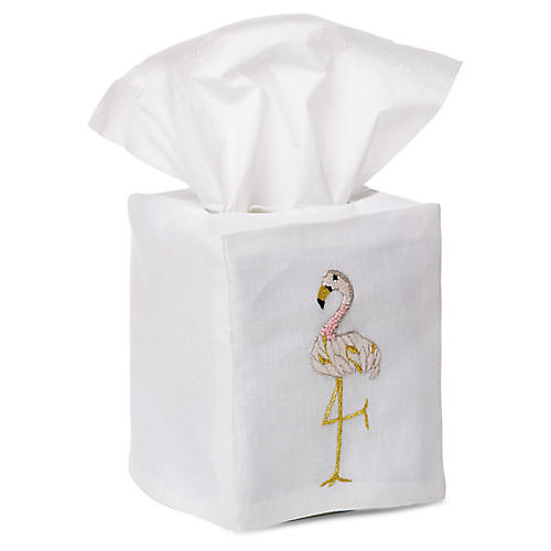 Flamingo Tissue Box Cover, Gold/White