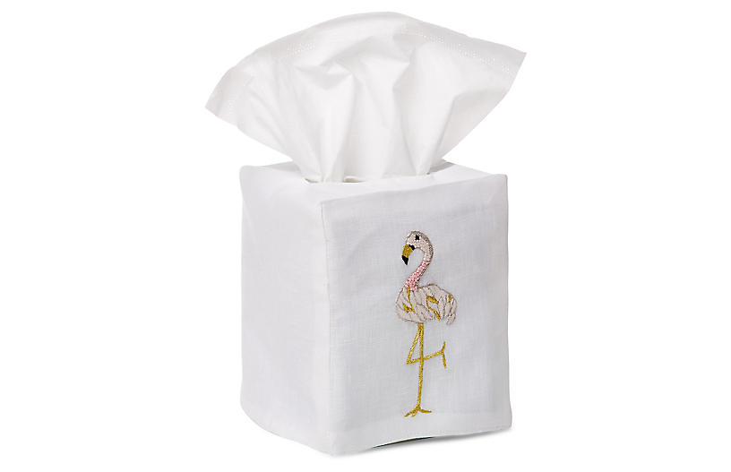 Flamingo Tissue Box Cover, Gold/White