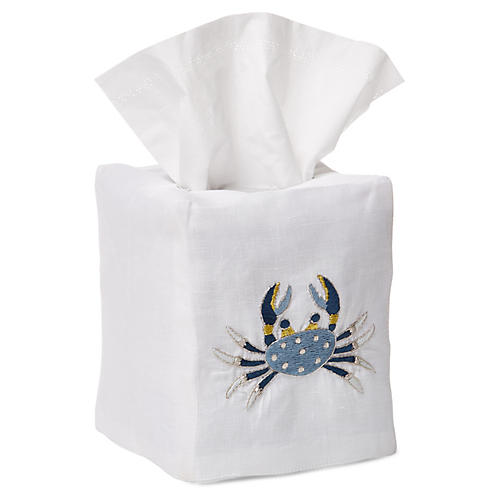 Crab Tissue Box Cover, Blue/White
