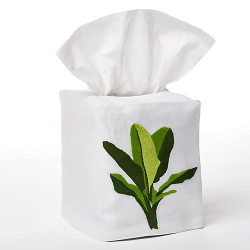 Palm Tissue Box Cover, Green/White