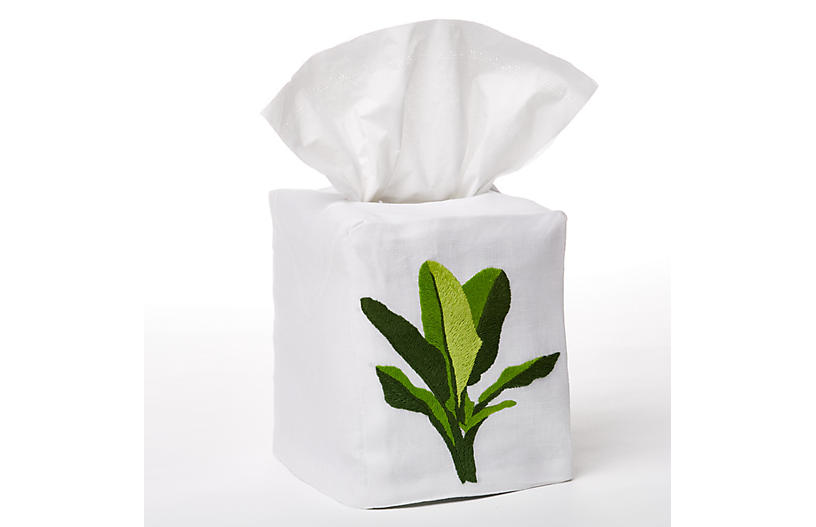 Palm Tissue Box Cover, Green/White