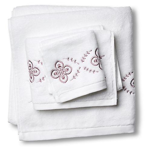 3-Pc Floral Towel Set, Satin Wine