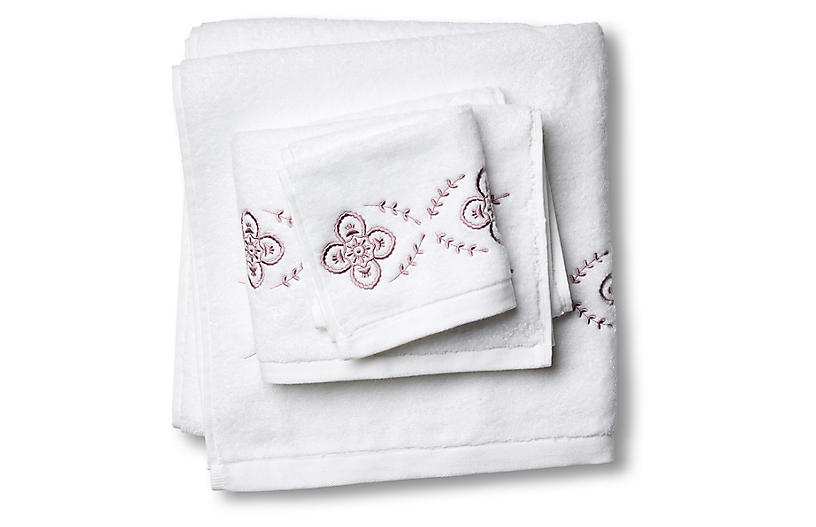 3-Pc Floral Towel Set, Satin Wine
