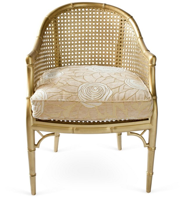 Gold Bamboo-Style Bucket Chair