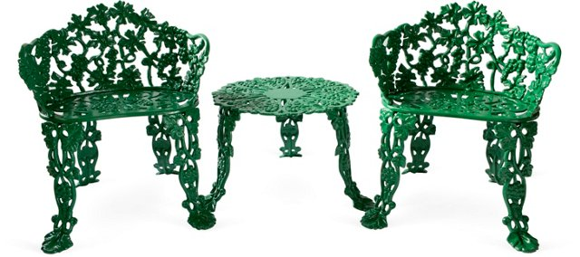 Green Iron Table w/2 Chairs