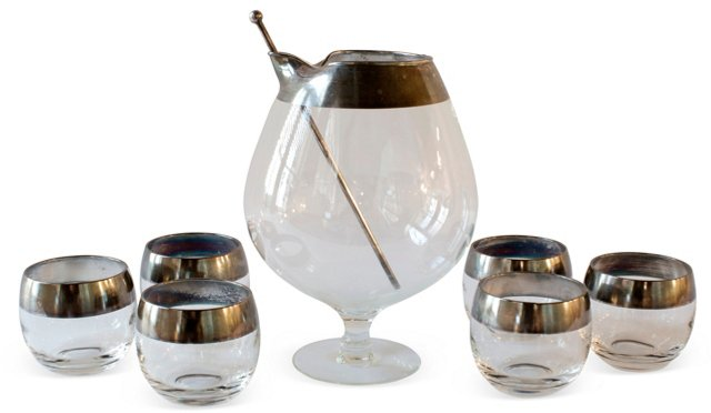 Pewter Cocktail Mixer & 6 Glasses