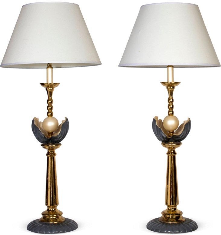 Brass Clam Shell Lamps, Pair