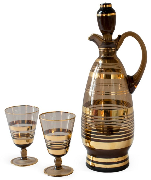Taupe Decanter w/2 Glasses