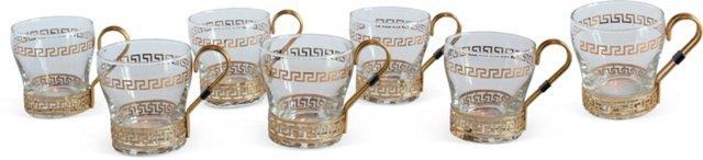 Gold Greek-Key Glass Mugs, Set of 7