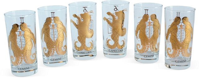 Zodiac Sign Drinking Glasses, Set of 6