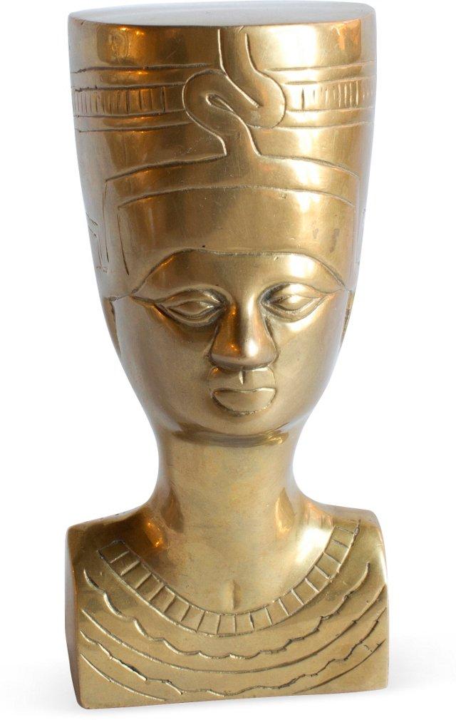 Vintage Brass Nefertiti Statue