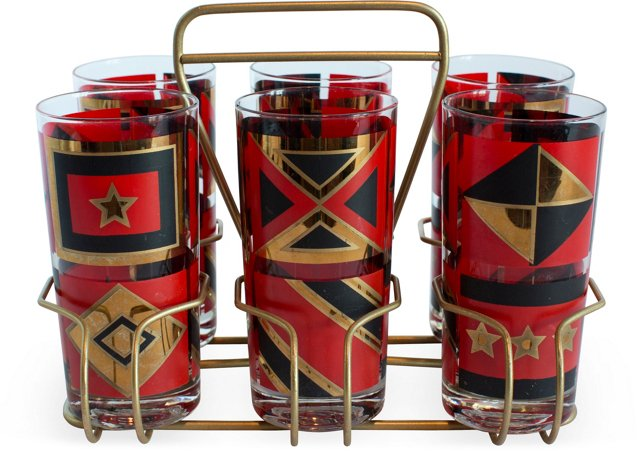 Retro Red & Black Barware Set, 9 Pcs.