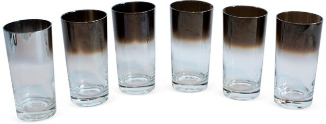 Silver Ombré Highball Glasses, Set of 6