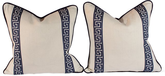 Navy & White Greek Key Pillows, Pair
