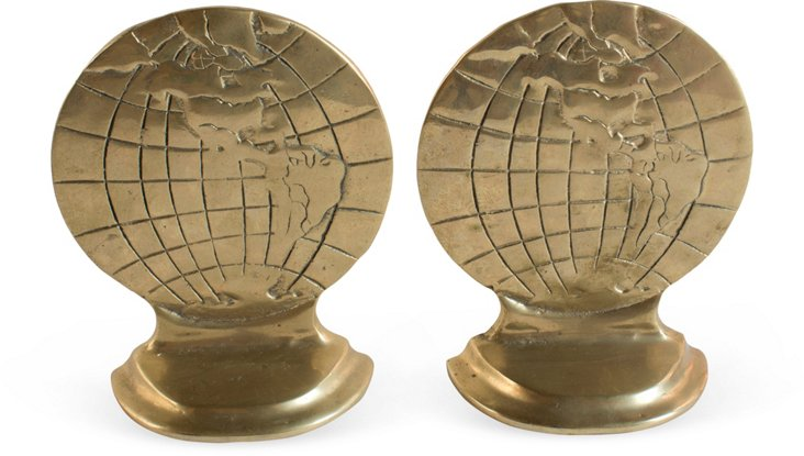 Brass Globe Bookends