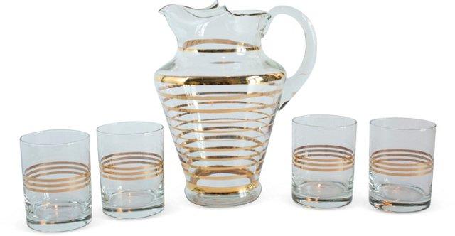 Gold Striped Barware Set, 5 Pcs.
