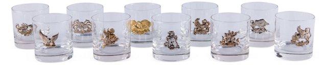 Zodiac Cocktail Glasses, Set of 10