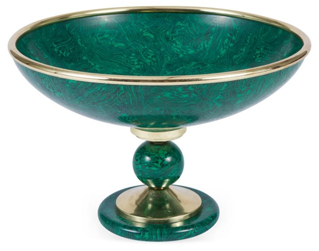 Malachite-Style & Brass Footed Bowl