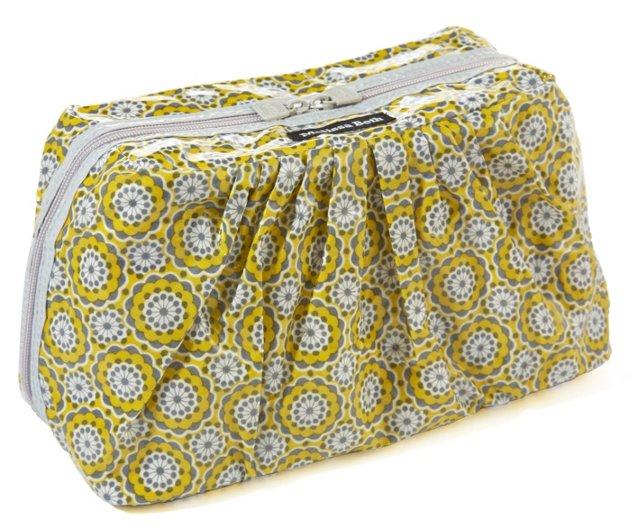 Jumbo Cosmetic Case, Gray/Yellow