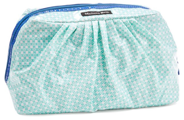 Pretty Pleats Cosmetic Case, Aqua
