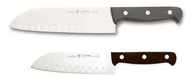 2-Pc Fine Edge Pro Santoku Knife Set