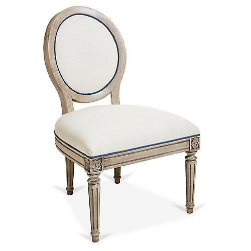 Carlyle Side Chair, Ivory/Blue Linen