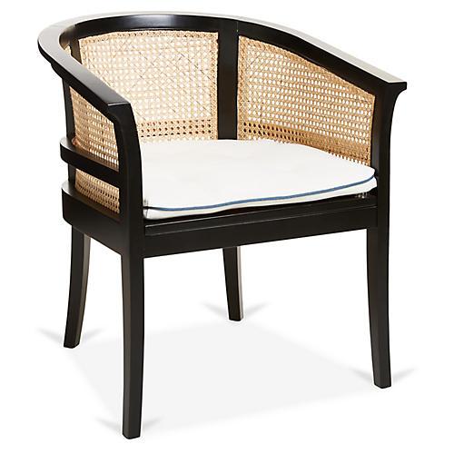 Harper Chair, Blue/Ivory Linen
