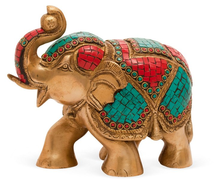 "7"" Elephant Objet, Brass"