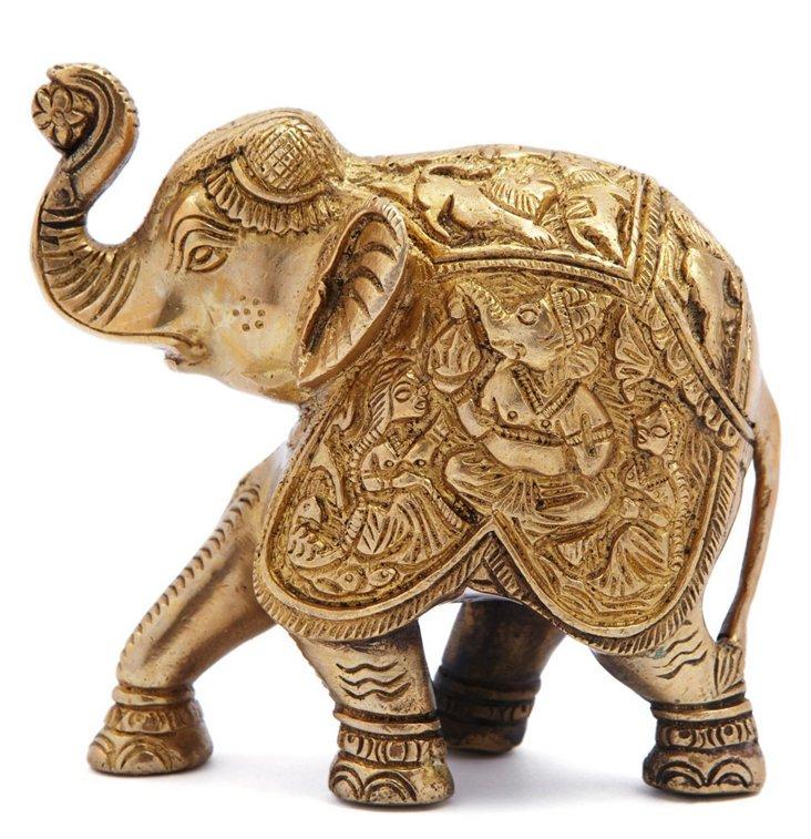"4"" Brass Kneeling Elephant"