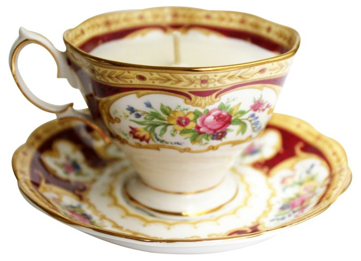 Red & Gold Tea Cup Candle, Lilac