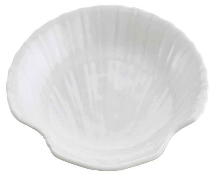 S/6 Porcelain Shell Dishes, White