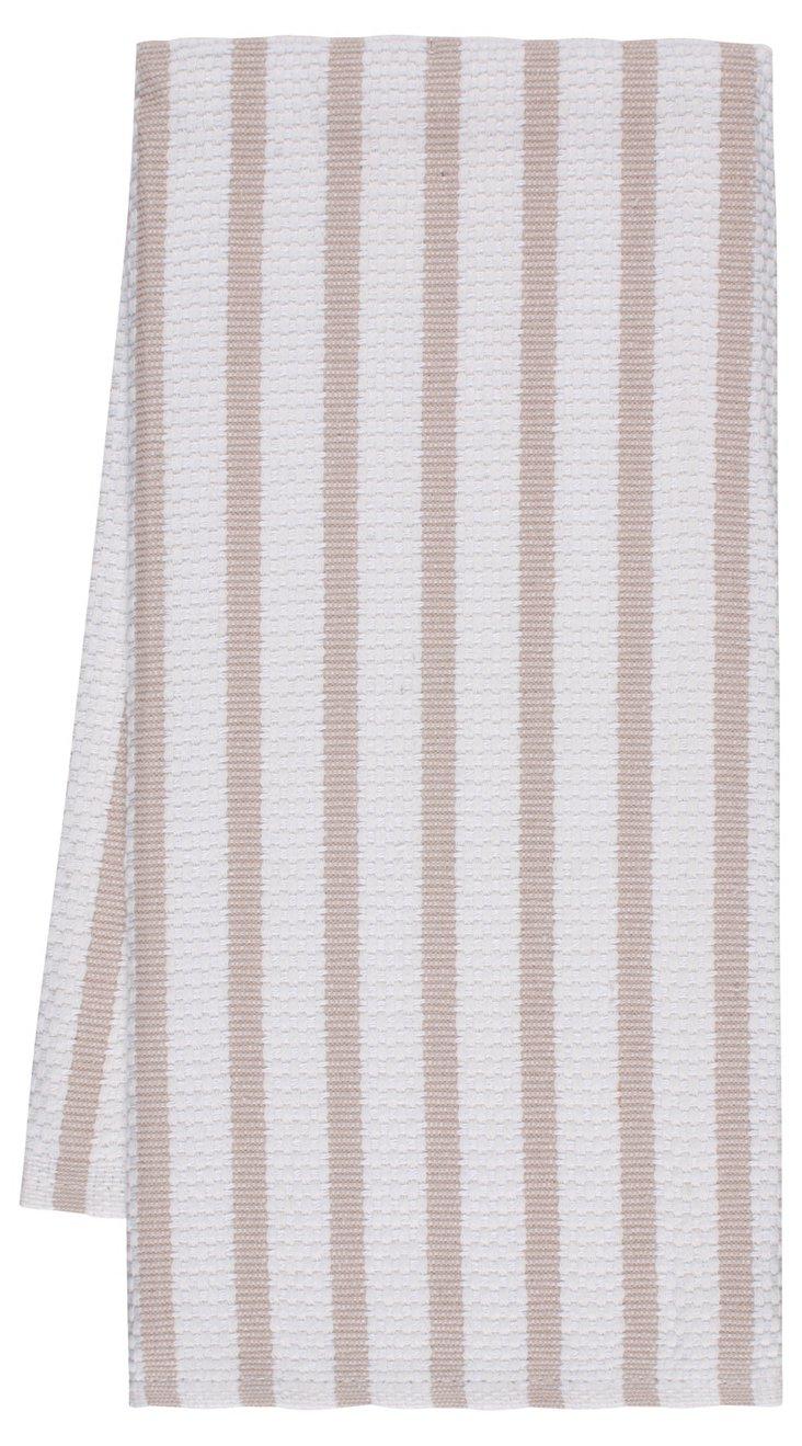 S/4 Striped Dish Towels, Khaki