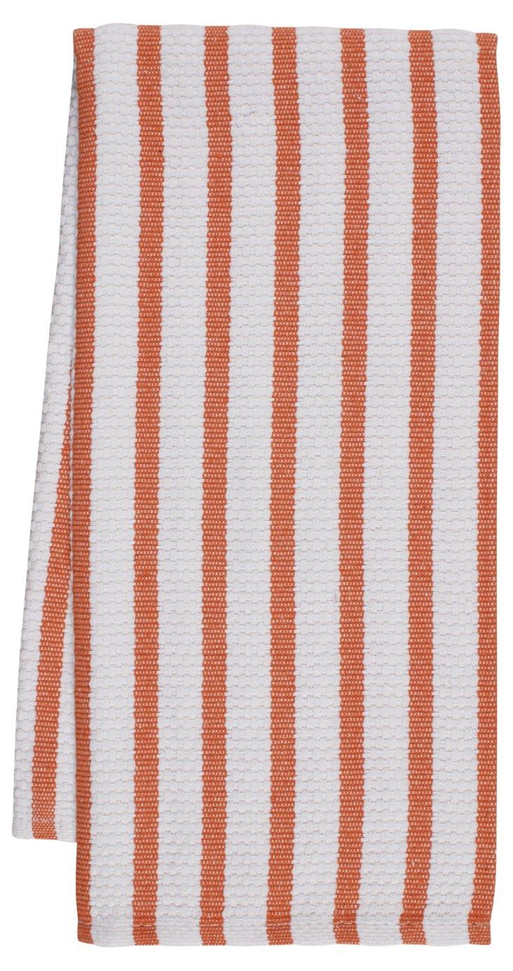 S/4 Striped Dish Towels, Orange