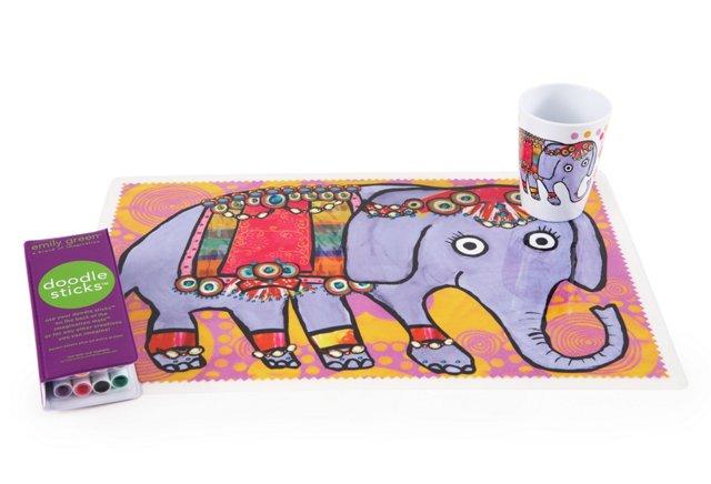 Elephant Tumbler & Mat Set