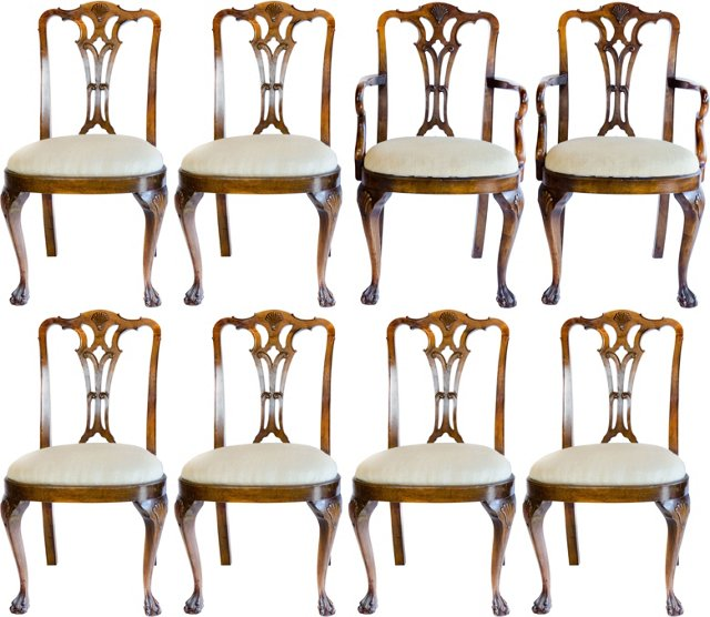 Walnut Dining Chairs, Set of 8