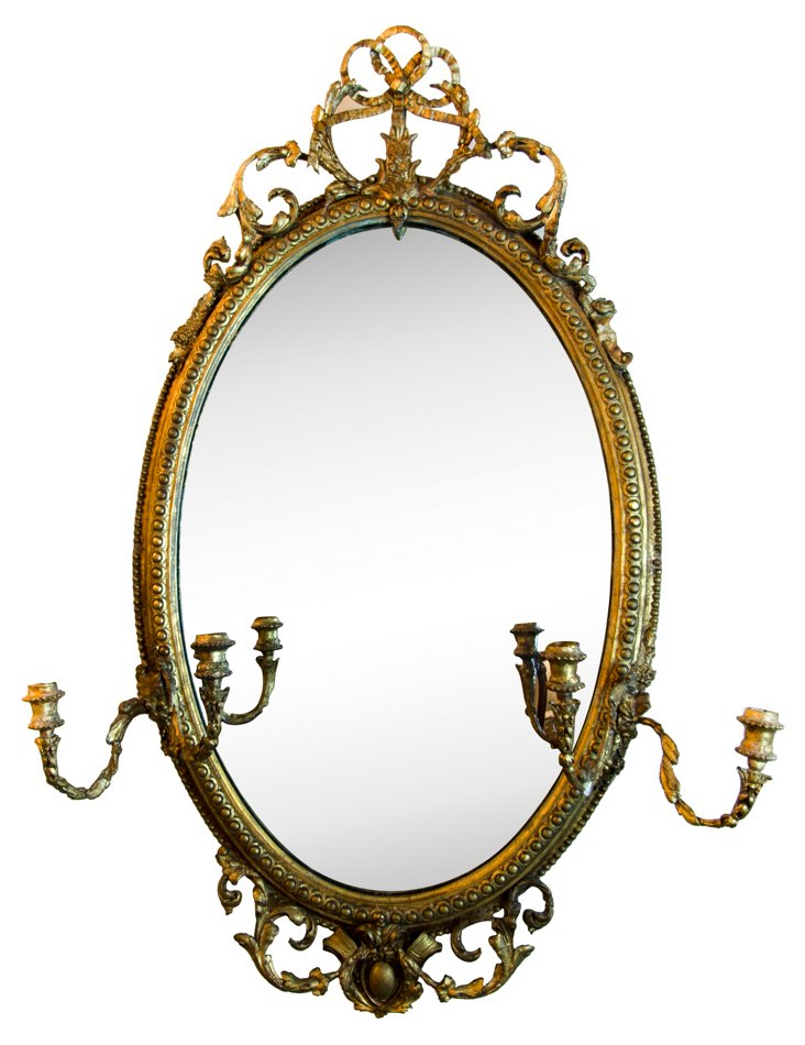 Antique Gold-Plated Wood Mirror