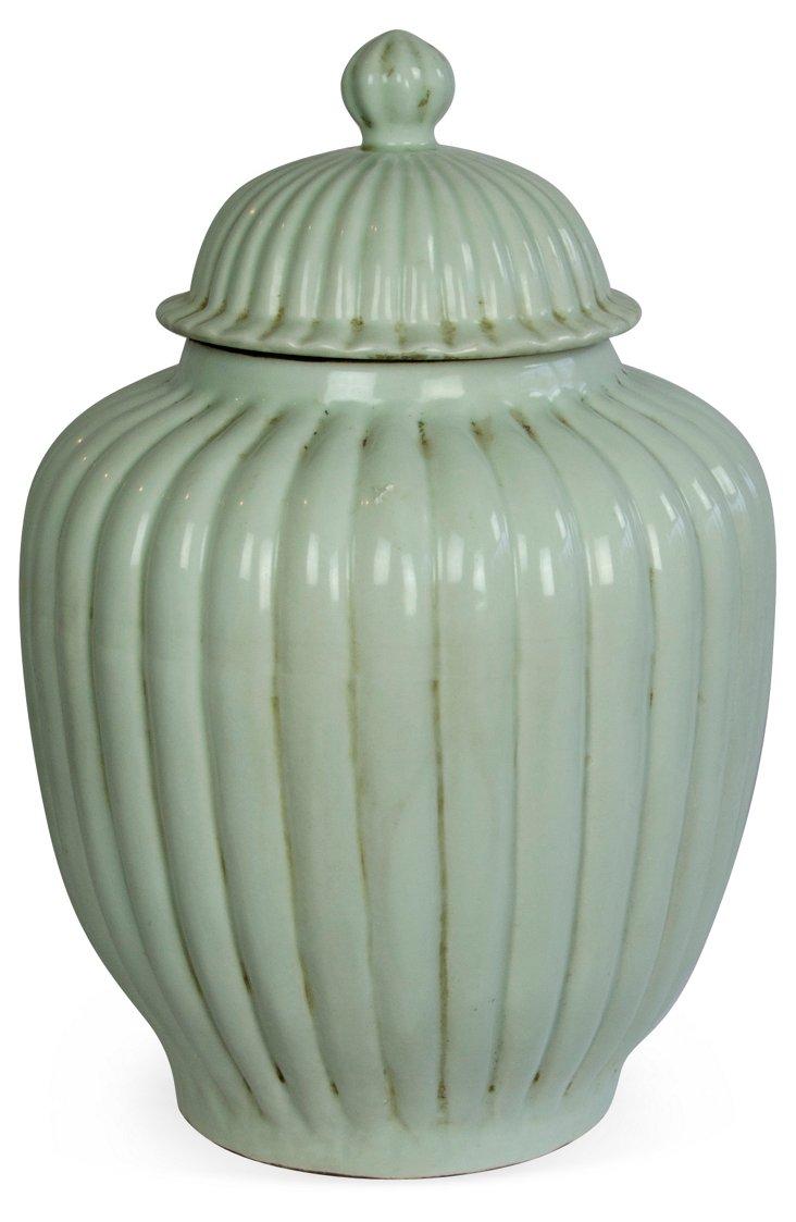 Ribbed Celadon Vase