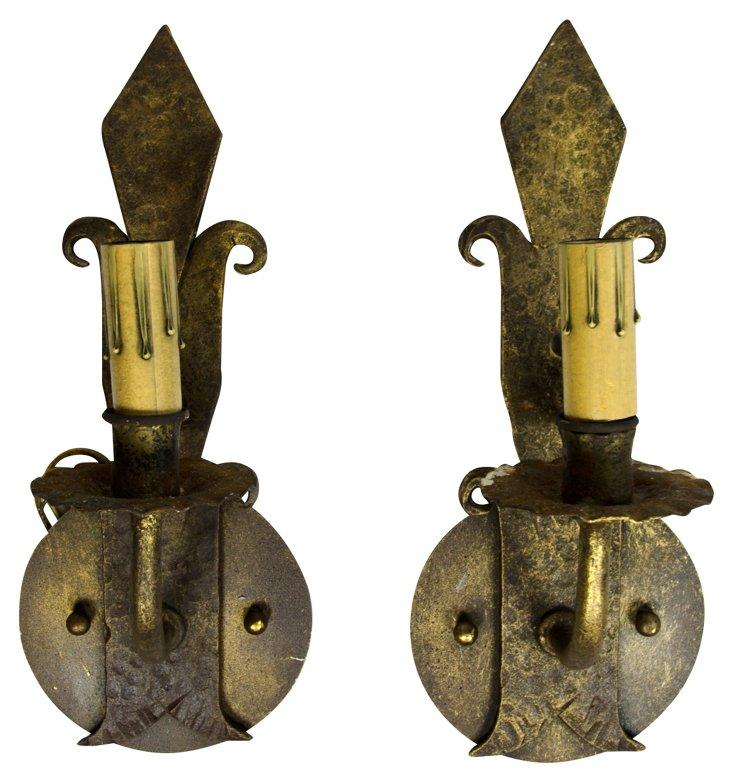 Single Arm Iron Sconces, Pair