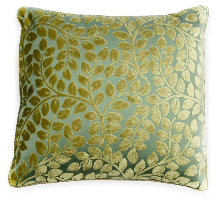 Velvet & Linen Leaf-Print Pillow