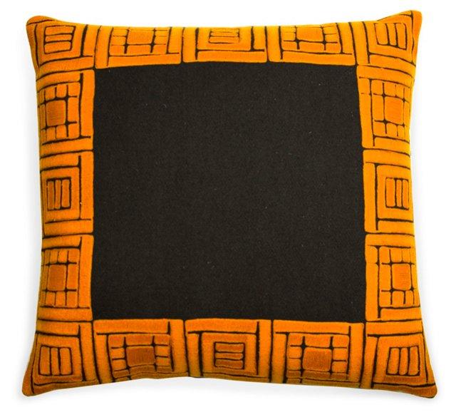 Orange & Brown Wool Pillow