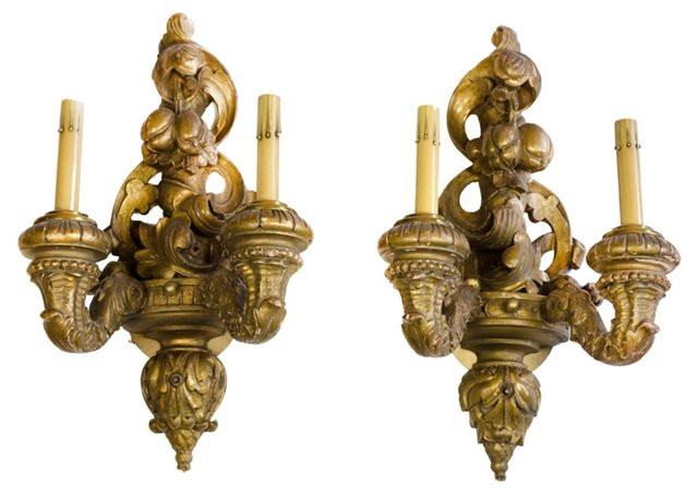 Gold-Plated Wood Sconces, Pair